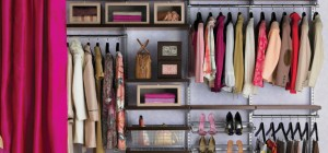 Dark-shelves-with-shoes-rack-and-drawers-in-closet-ideas-with-magenta-pink-curtains-for-divider-or-cover-with-pretty-chair-and-dark-wooden-floor
